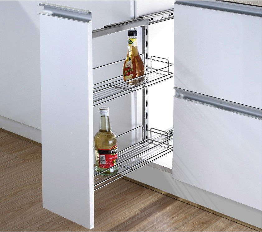 Kitchen Side Pull Out Cabinet Organizer , Pull Out Metal Basket In Iron