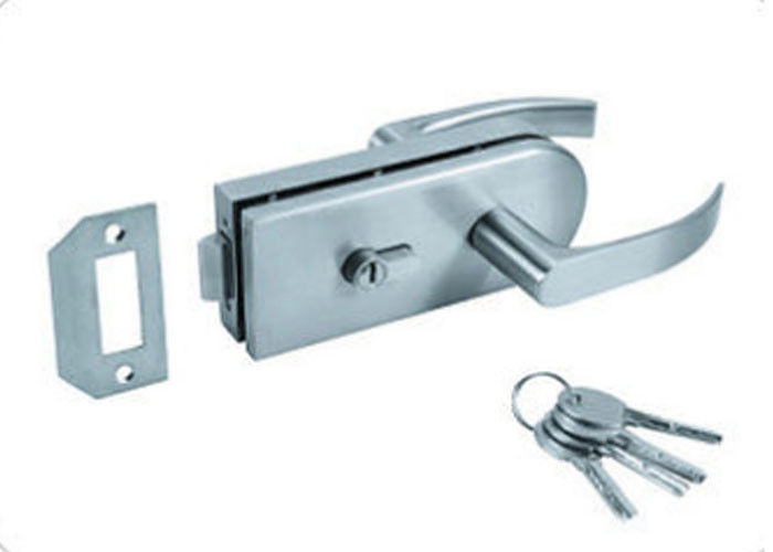 Stainless Steel Glass Door Lock With Key , Handle Sliding Glass Door Latch